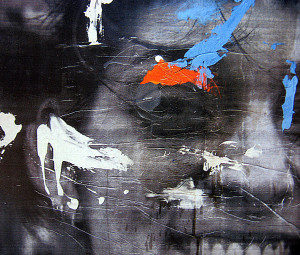Úsměv / Smile, acryl on photograph 92 x 105 cm, 2005