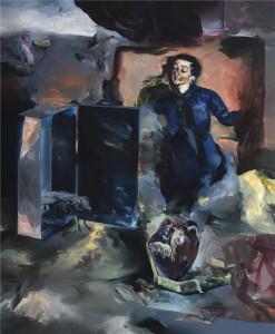 Mezi skrýšemi / In Between Hideouts, oil on canvas 170x 160 cm, 2013