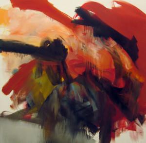 abstrakce v červené
