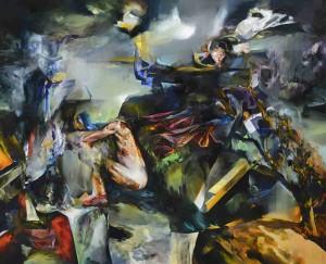 Bez kůže v kůži / Without Skin in skin, oil on canvas 180 x 210 cm, 2012
